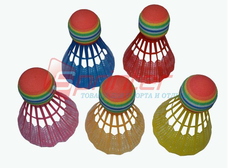 Волан пластиковый c пенной головкой, цветные, в тубе 5 шт.