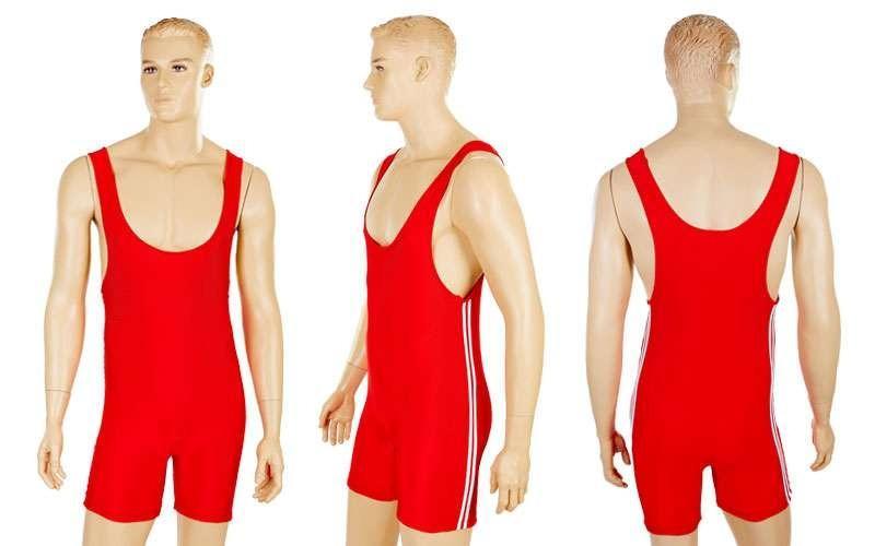 Трико для тяжелой атлетики мужское, красный (бифлекс, р-р S-XL (RUS 44-52))