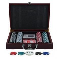 Покерный набор в деревянном кейсе (200 фишек, 2 кол. карт, 5 куб., р-р кейса 20х21х6,5 см.)
