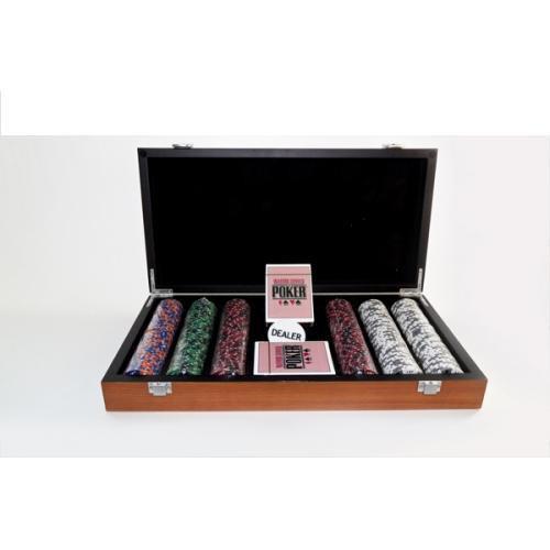 Покерный набор в деревянном кейсе (300 фишек, 2 кол. карт, 5 куб., р-р кейса 20х21х6,5 см.)