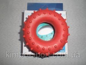 Эспандер кистевой кольцо с шипами, резина, нагрузка - 30 кг, индивидуальная упаковка