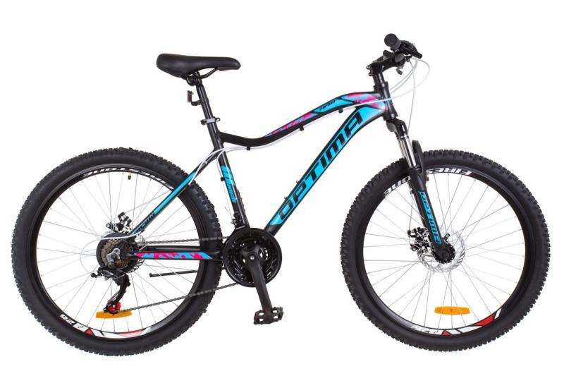 """Велосипед горный 26"""" Optimabikes ALPINA DD 2018 (черно-голубой с розовым (м))"""