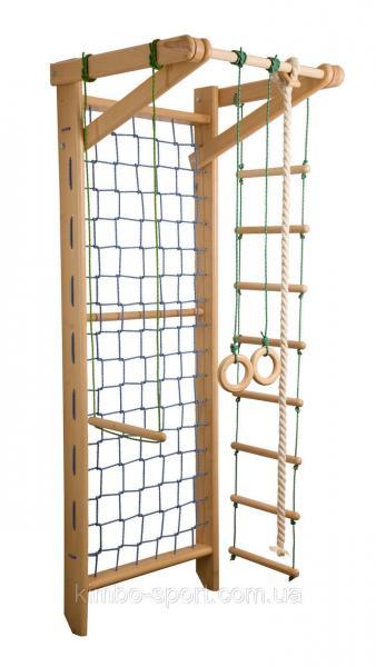 """Спортивный комплекс """"Baby - 8"""", 220 см., гладиаторская сетка с турником +  навесное оборудование, бук"""