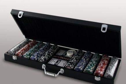 Покерный набор в деревянном кейсе (500 фишек, 2 кол. карт, 5 куб., р-р кейса 20х21х6,5 см.)