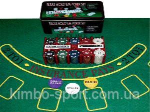 """Набор для игры в покер """"TEXAS HOLDEM""""200 в металлической коробке"""
