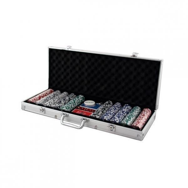 Покерный набор в алюминиевом кейсе (500 фишек, 2 кол. карт, 5 куб., р-р кейса 20х21х6,5 см.)