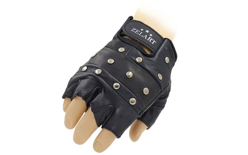 Перчатки спортивные многоцелевые с заклепками ZEL (кожа, откр.пальцы, р-р S-XXL, черный)