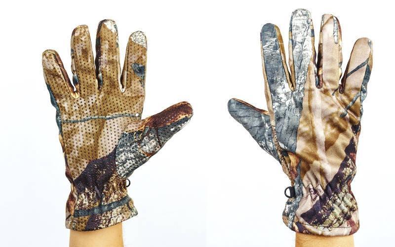 Перчатки спортивные теплые флисовые (флис, PL закр. пальцы, р-р M-XL, камуфляж Realtree)