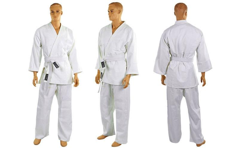 Кимоно для дзюдо белое MATSA  (х-б, р-р 00-7 (120-200см), плотность 450г на м2)