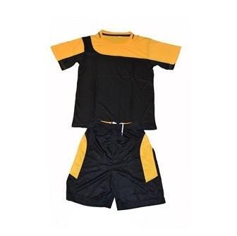 Форма футбольная детская, р-ры: 12, 14, 16, 18 (черно-оранжевый комплект)