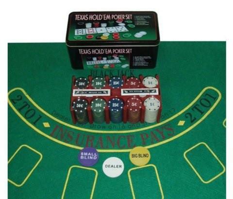 Покерный набор в металлической коробке-100 (100 фишек, 2 кол. карт, р-р коробки: 19,5 х 20 х 5 см.