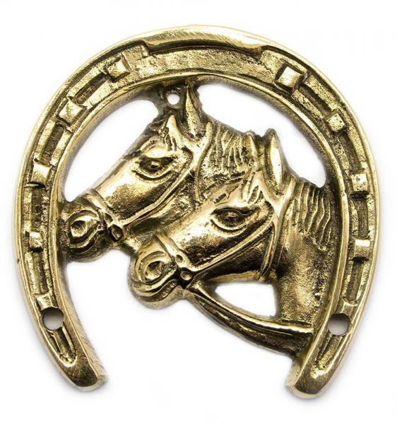 Подкова бронзовая с лошадьми, 9,5 х 9,1 х 0,6 см.