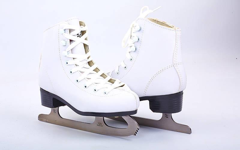 Коньки фигурные белые PVC (р-р 34-41, лезвие-сталь)