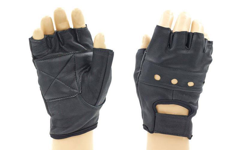 Перчатки спортивные многоцелевые WorkOut (кожа, откр.пальцы, р-р S-XXL, черный)