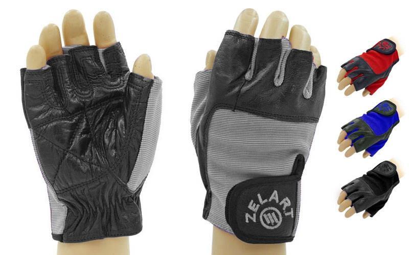 Перчатки спортивные многоцелевые ZEL  (кожа, откр.пальцы, р-р XS-XL, красный, синий, черный, серый)