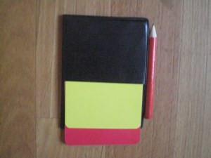 Набор для футбольного судьи (карточки -2шт., чехол-1шт., карандаш-1шт.)