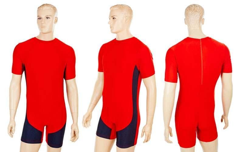 Трико для тяжелой атлетики мужское  красный (бифлекс, р-р M-4XL (RUS 42-54)