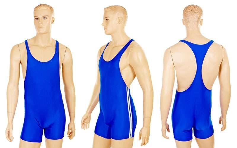 Трико для борьбы мужское, синий (бифлекс, р-р 2XL-4XL)
