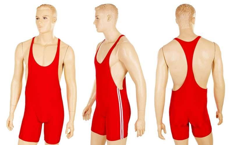 Трико для борьбы мужское, красный (бифлекс, р-р XL-4XL)