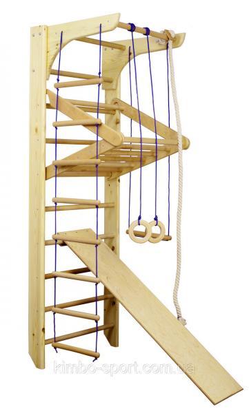 """Шведская стенка с турником  """"Kinder - 3"""", 220 см. + веревочный набор + турник,  деревянная"""