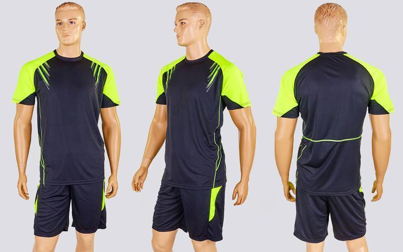 Футбольная форма Captain  (PL, р-р M-XXL, черный-салатовый,шорты черные)