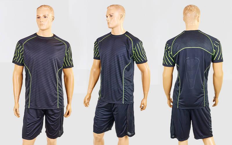 Футбольная форма Match (PL, р-р M-XXL, черный-салатовый, шорты черные)