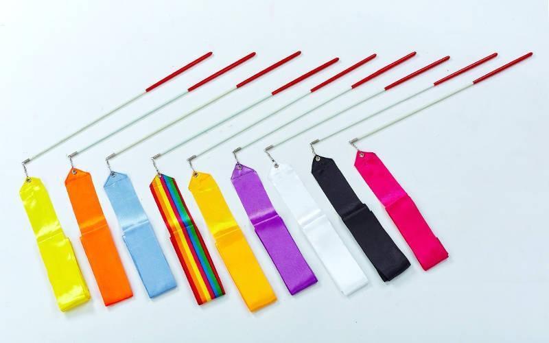 Лента для художественной гимнастики l-3,3м  (нейлон l-3,3м, палочка-пластик,l-40см,цвета разные)