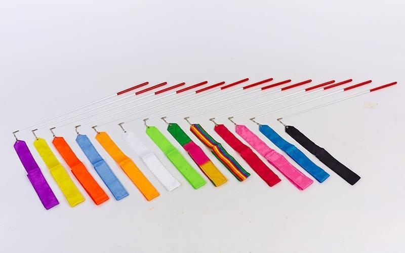 Лента для художественной гимнастики l-6м  (нейлон l-6м, палочка-металл, l-60см, цвета в ассортименте)