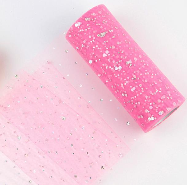 Фатин  ширина  15 см.  Розового  цвета  с  блёсточками .