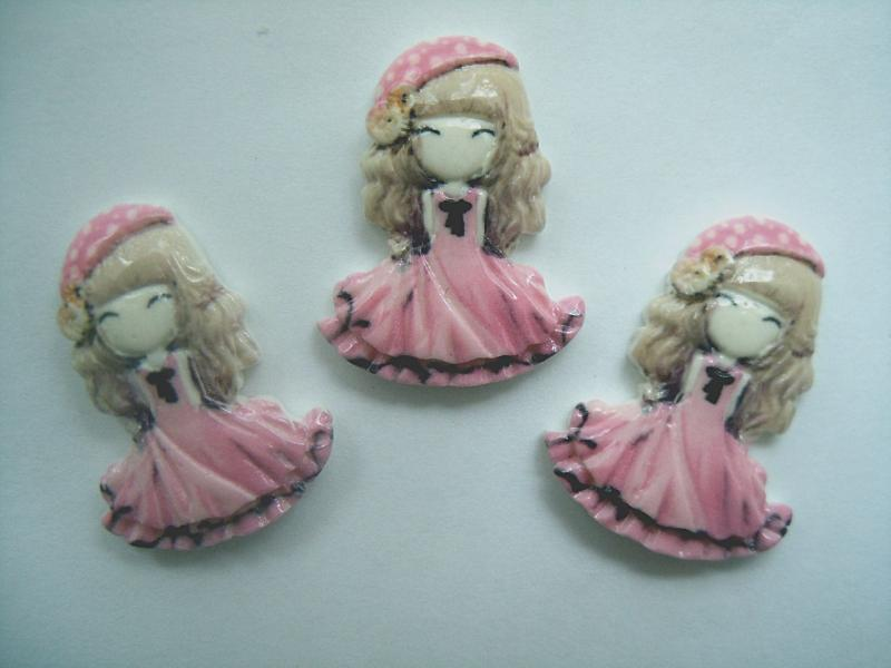 Кабашон  акриловый  21 * 28 мм.  Принцеса  в  розовом  платьечке.