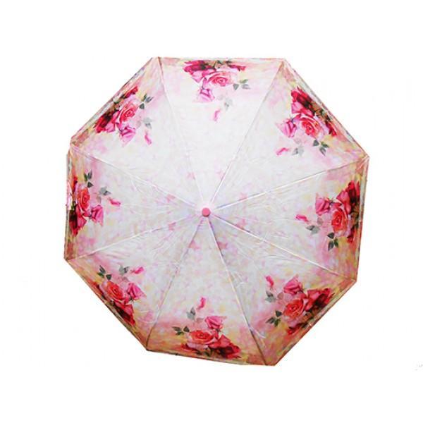 Женский зонт полуавтомат 3 сложения High Quality Артикул 444-12 розовый