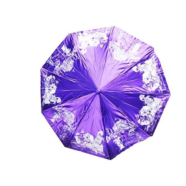 Женский зонт High Quality Артикул 170 фиолетовый принт