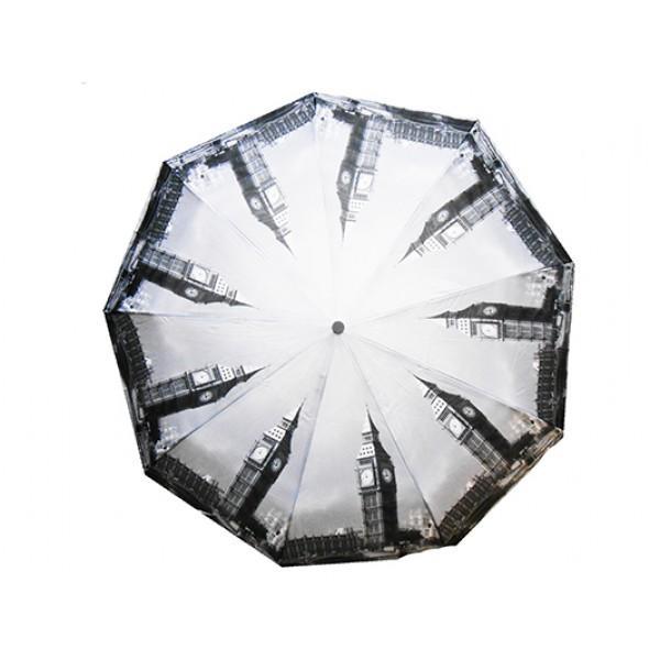 Женский зонт полуавтомат 3 сложения Tornado Артикул 224-188 серый