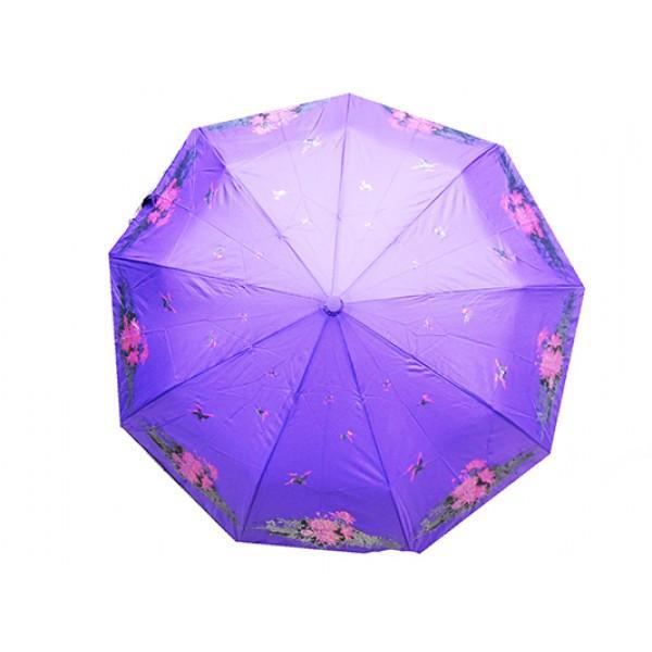 Женский зонт полуавтомат 3 сложения Tornado Артикул 51-178 фиолетовый цветы