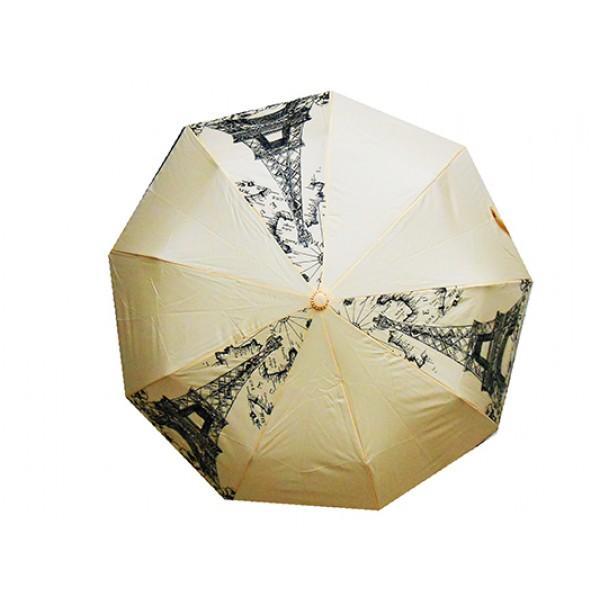 Женский зонт полуавтомат 3 сложения Tornado Артикул 57 бежевый париж