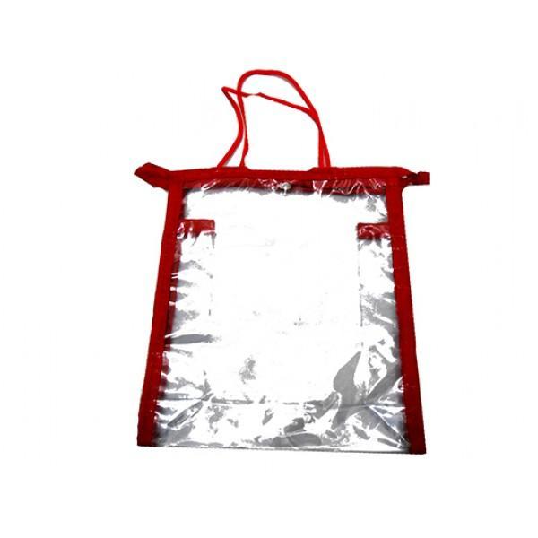 Женская прозрачная косметичка Артикул 052 красная кайма