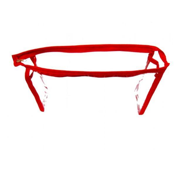 Женская прозрачная косметичка Артикул 070 красная кайма
