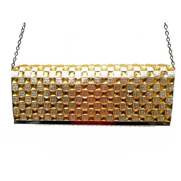 Женская вечерняя сумка Артикул 6349 золото кавдрат