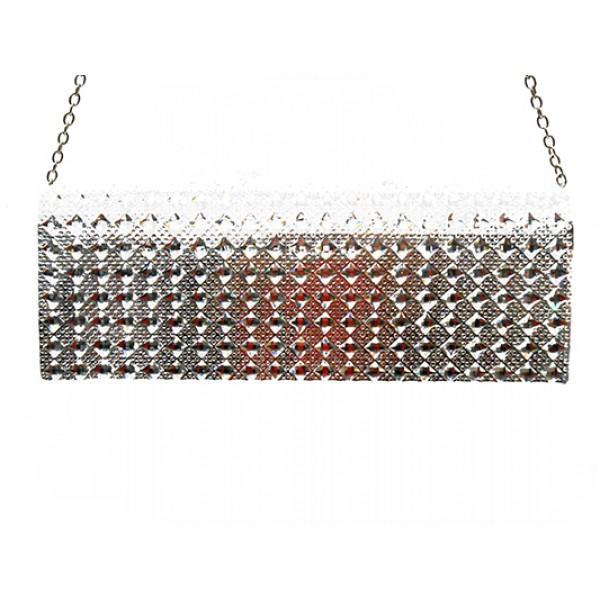 Женская вечерняя сумка Артикул 6349 серебро ромб