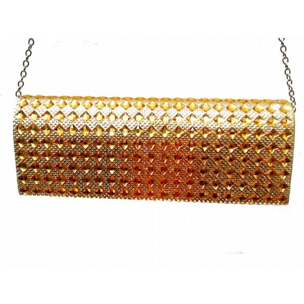 Женская вечерняя сумка Артикул 6349 золото ромб