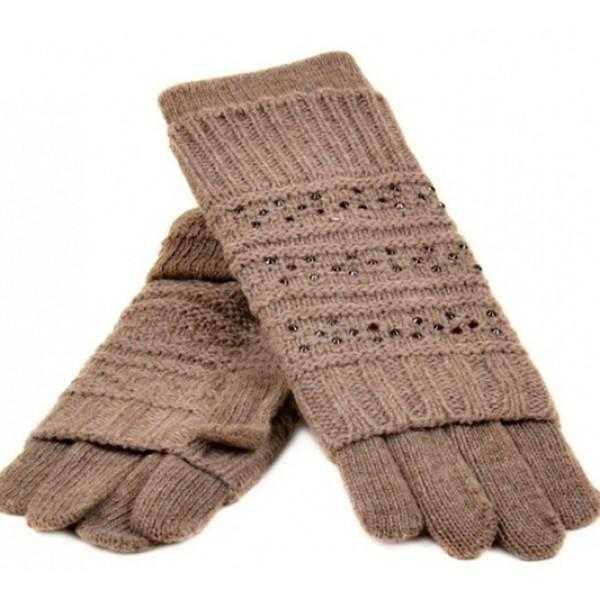 Женские перчатки-варежки вязка Мари Fashion Артикул К 308-В светло-коричневые