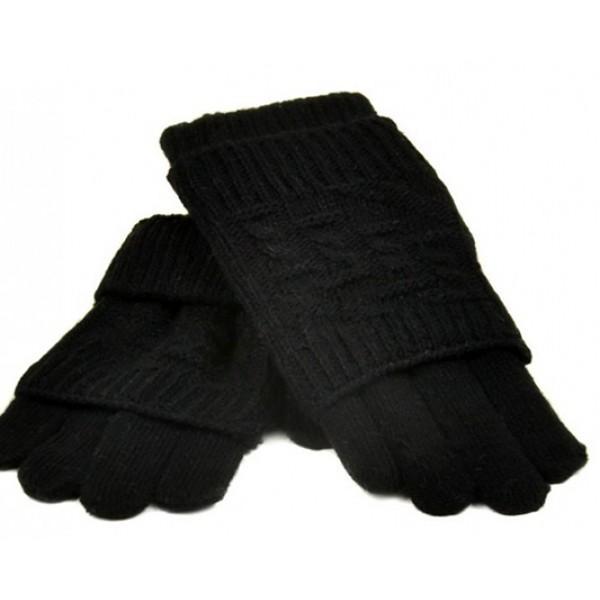 Женские перчатки-варежки вязка Мари Fashion Артикул К 53-В черные