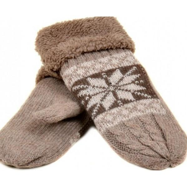 Женские перчатки-варежки вязка Мари Fashion Артикул К 275-В бежевые