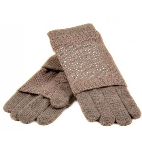 Женские перчатки-варежки вязка Мари Fashion Артикул К 58-В бежевые