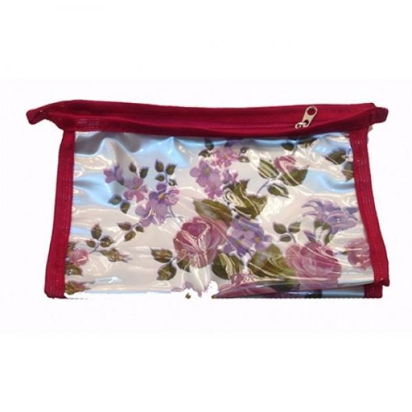 Женская прозрачная косметичка Артикул 070 цветы в ассортименте