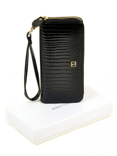 Фото  Женский кошелек  барсетка  Lizard кожа-лак BRETTON W38 black