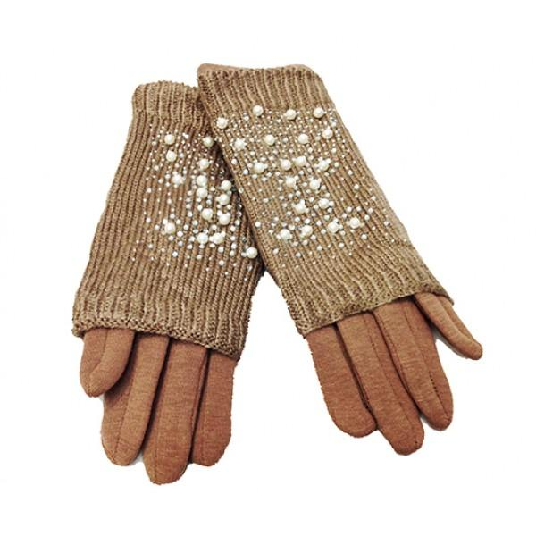 Женские перчатки Ronaerdo Артикул Ю-0110-155 бежевые