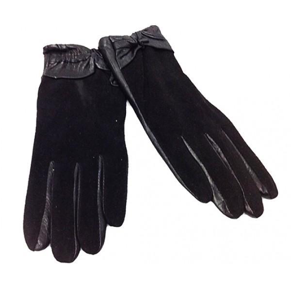 Перчатка Женская кожа Thinsutate Артикул 4 мод 2 black с замшем