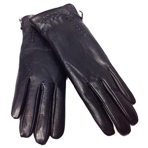 Женские перчатки кожа Зимушка Артикул P- 125 черные мех кролик