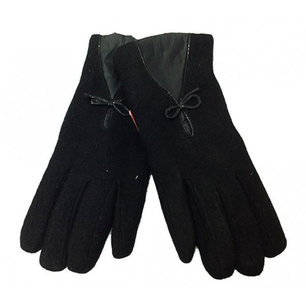 Женские перчатки Мария кашемир-махра Артикул  P-025 черные